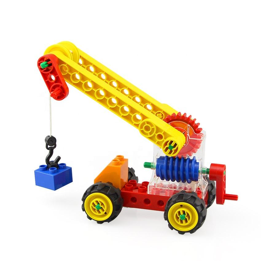 Assembly STEM DIY Blocks Funny Worm Gear Crane Block Toys Building For Kids