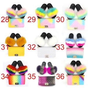 Rainbow color hand bags shoulder crossbody designer matching purse handbags raccoon real fox fur slides and handbag for women