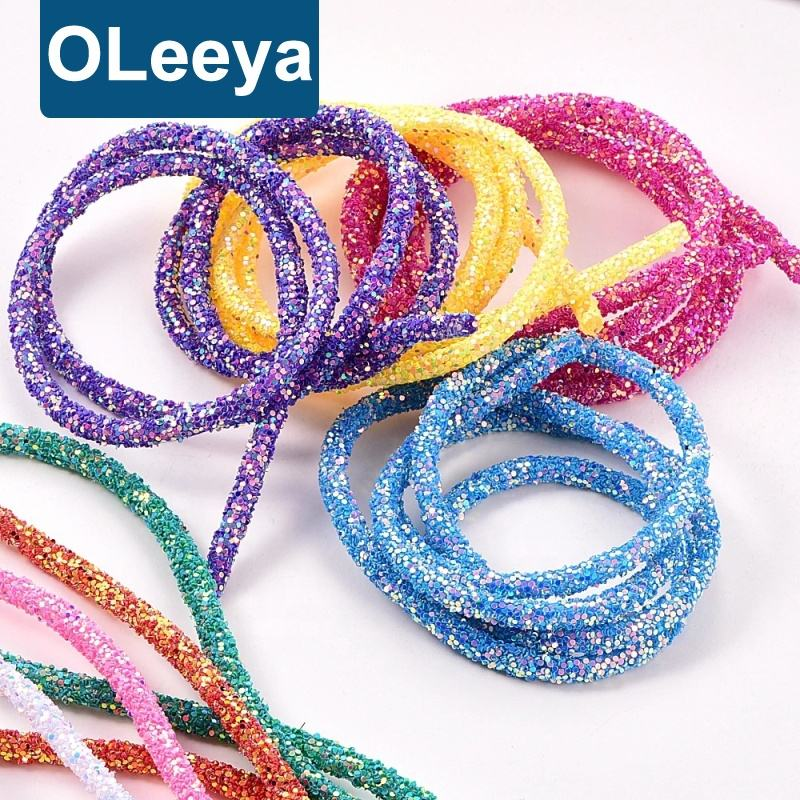 1 Yard Per Roll 6ミリメートルSoft Tube Cord Rope String Resin Glitter Sequin RopesためAccessories DIY