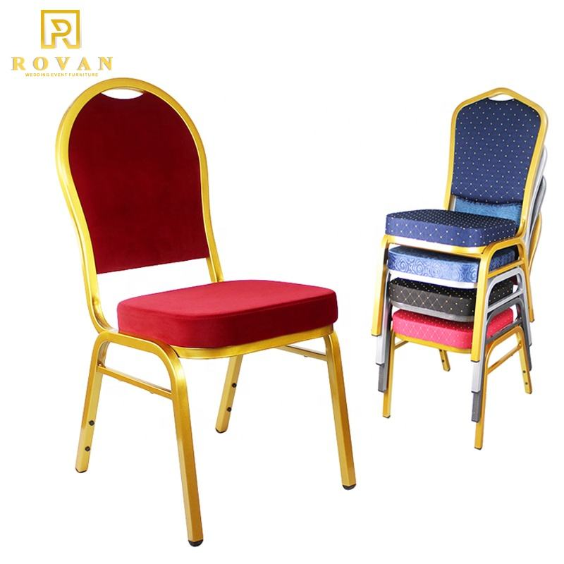 Luxury hotel cheap aluminium gold banquet chair for events metal wedding chair