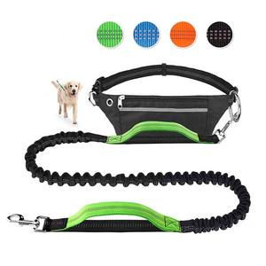 retractable reflective hands free dog running leash for walking jogging