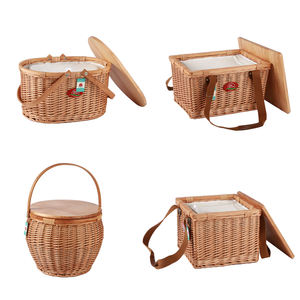 hot sale round wicker Foldable picnic basket cooler bag set with wood lid put down handle storage picnic basket