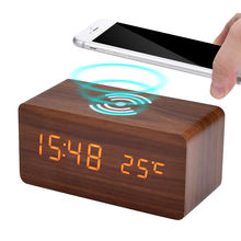 Wooden Led Digital Clock With Qi Wireless Charging Pad Custom Sound Alarm Clock