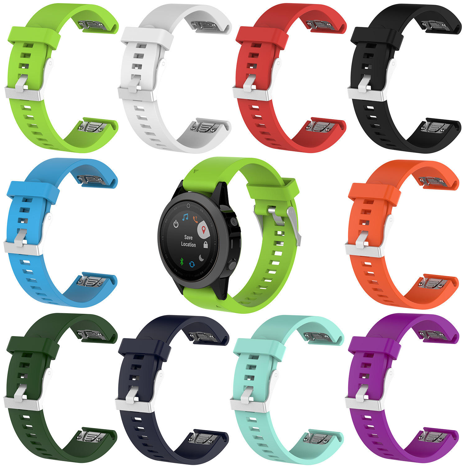 Watches Straps Silicone 20mm Quick Release Smooth Soft Silicone Sport Replacement Rubber Strap Watch For Garmin Fenix 5S 5S Plus 6