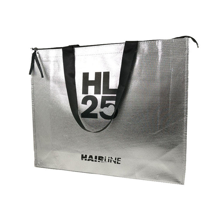 Wholesale recyclable OEM hotsell silver laminated hair zip tote bag with zipper