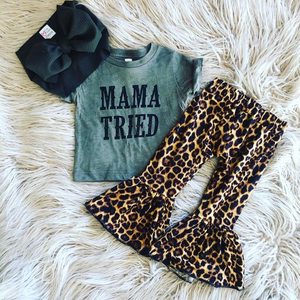 Latest baby clothes leopard cotton baby outfit spring summer wholesale boutique girl outfit kids clothing children's two set
