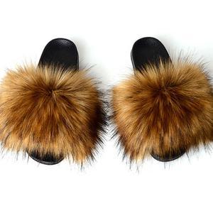 Real Fox Fur Slippers faux fur slide sandals Custom Women Fashion Fur Slides