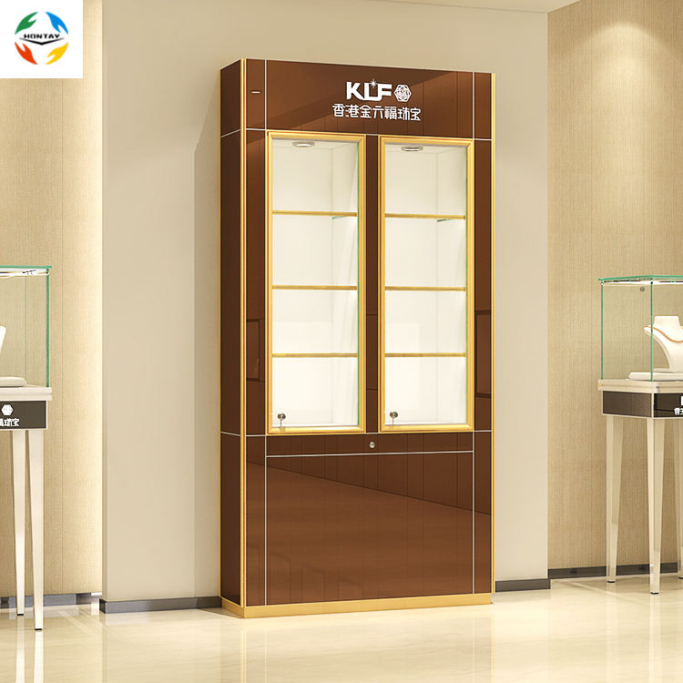 Factory Made Luxury Store Design Half Vision Fully Assemble Glass Jewelry Display High Cabinet Stand Wall Show Case