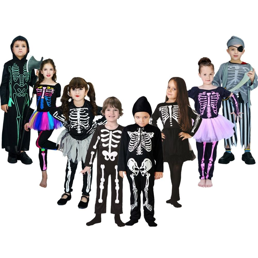 Top Selling Kid's Halloween Fancy Dress Halloween Skeleton Series Costume For Children