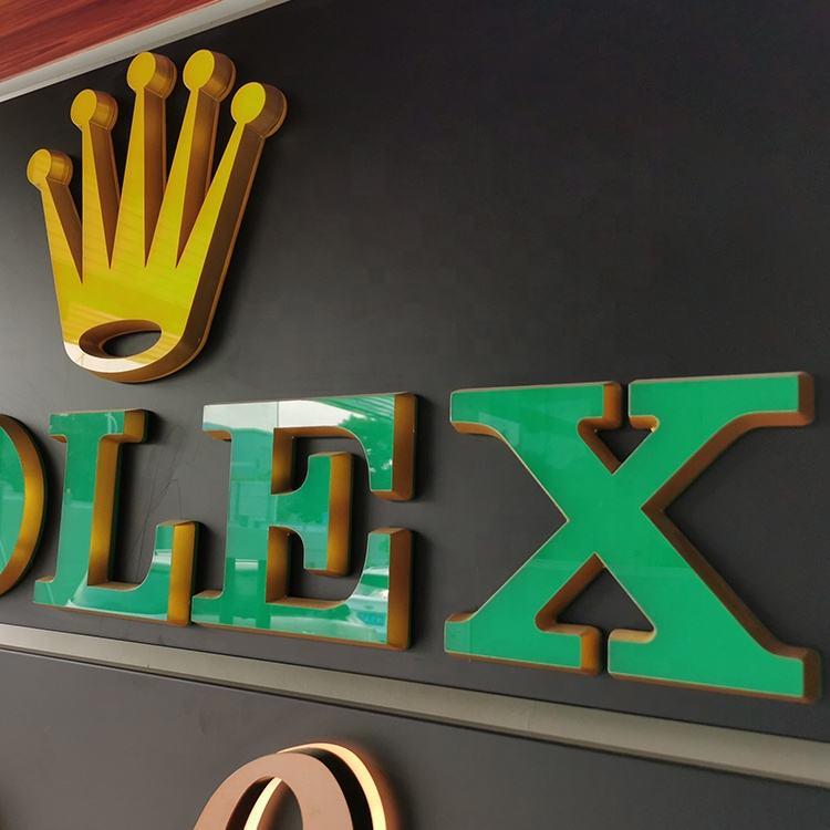 Color de logotipo personalizado Material impermeable Mini impermeable letras de acrílico 3d logotipo corporativo de señalización
