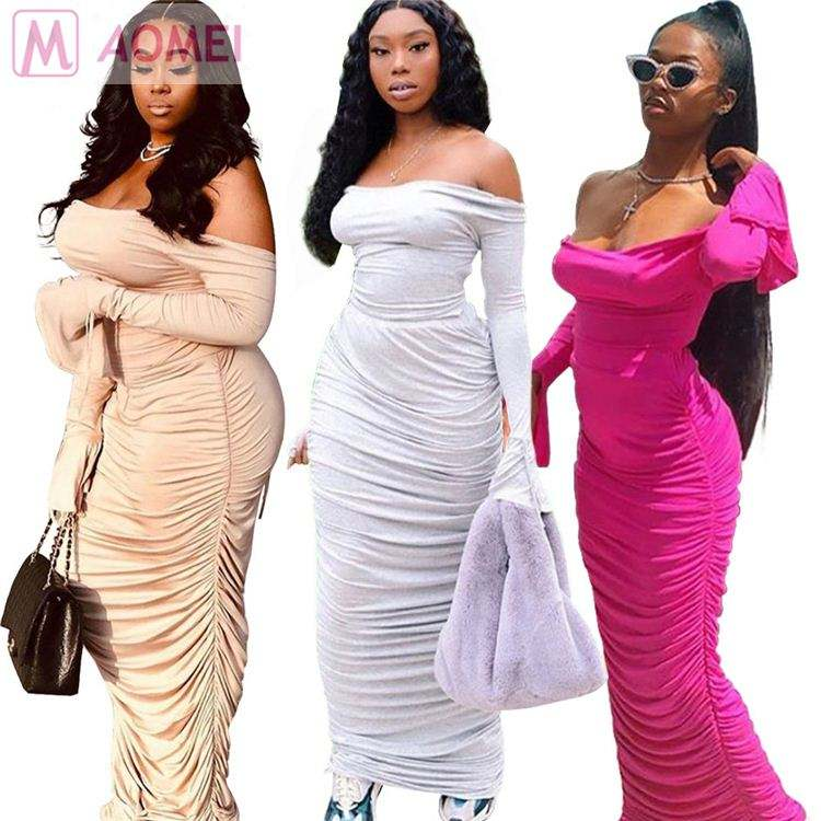 W2031 cheap apparel off shoulder top pleated sheath maxi Skirt 2 Piece Set Women Clothing
