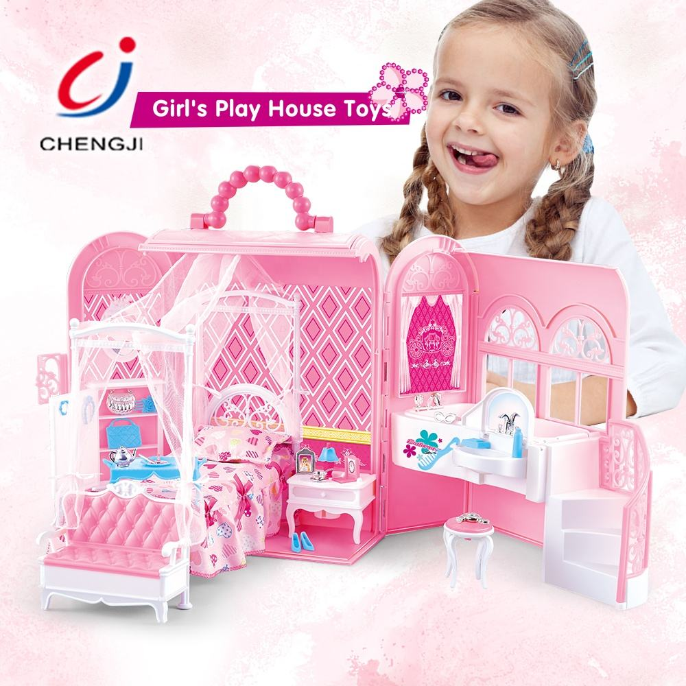 Fashion kids plastic play house girls toy doll house play set
