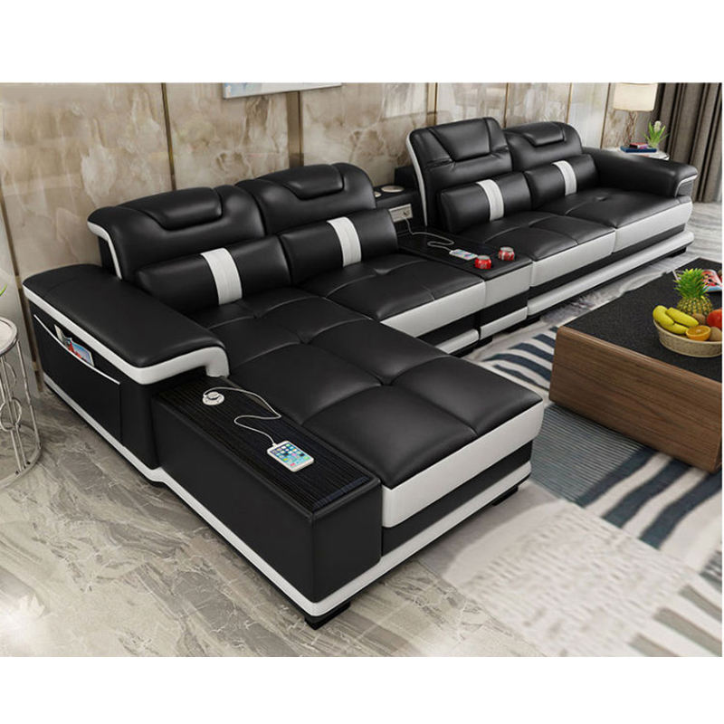 modern multifunction smart sectional black and white leather sofa