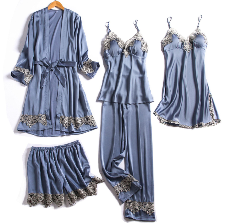 High quality women 5pcs silk satin lace robe set night sleepwear luxury robe for women