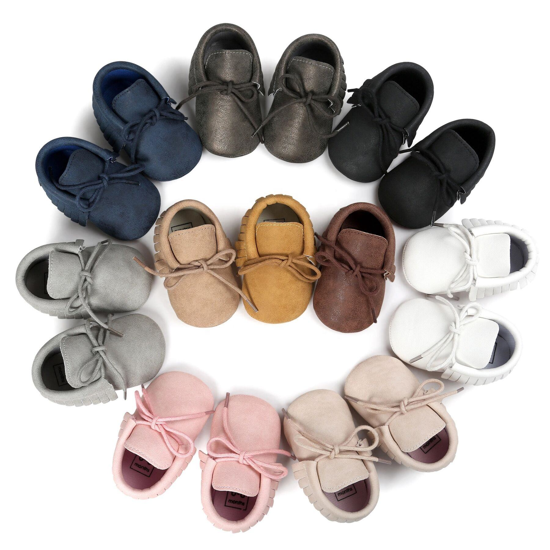 Handmade Vegan PU Infant Toddler Girls Shoes Soft Sole Baby Boy Moccasins