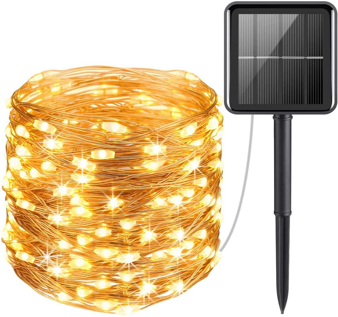 Waterproof outdoor solar box copper wire led lamp string light solar powered christmas fairy string lights
