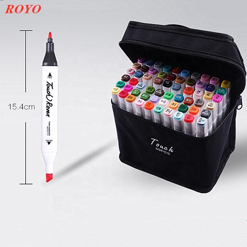 24 Color Art Marker pen Oil Alcohol based Drawing Artist Sketch Markers Pens Set For Animation Manga Art Supplies T2-24