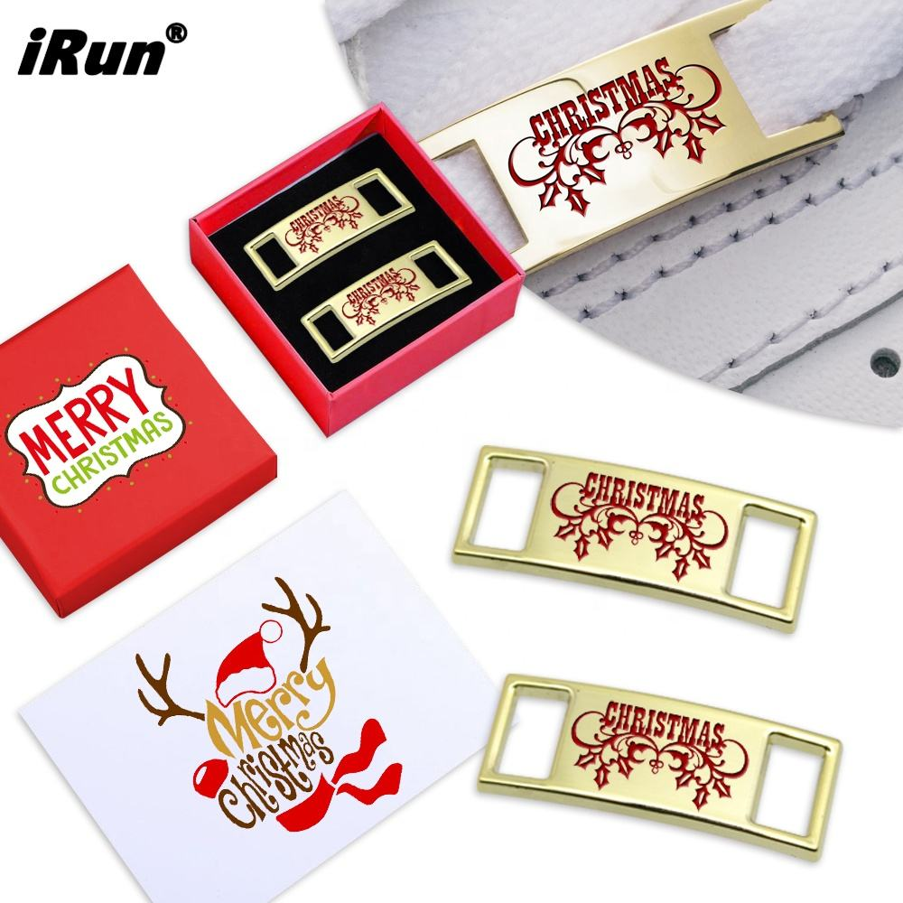 Metal Shoe Clips IRun Luxurious Shiny Metal Shoe Charm Accessories Cute Christmas Decoration Shoes Buckle Clip With Christmas Gift Box