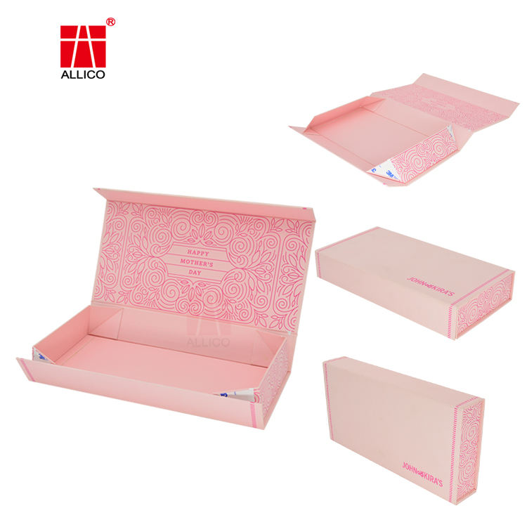 ALLICO Custom Logo Luxury Folding Pink Hard Paper Flat Packing Magnetic Gift Box Printed