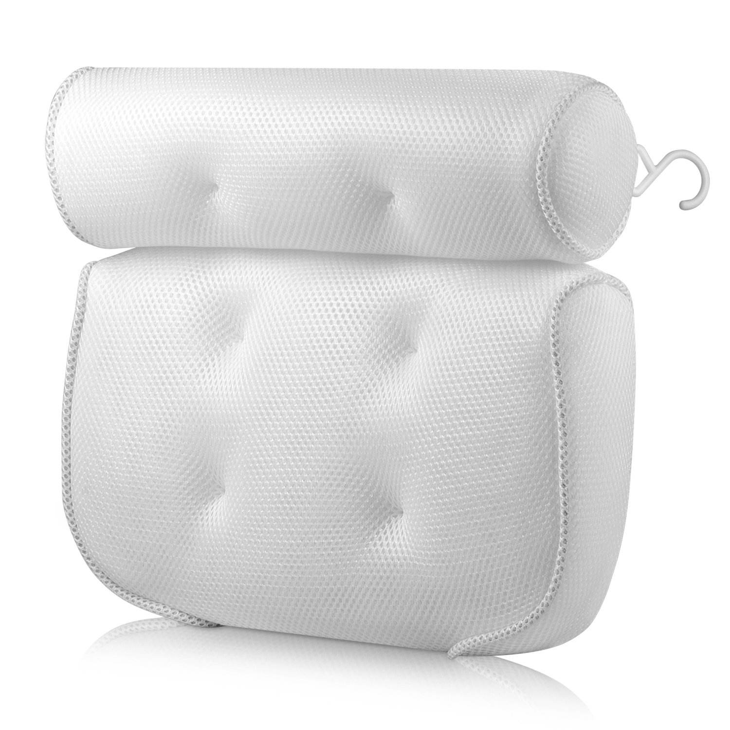 Bath Pillow (Premium Quality), Luxury Bathtub Pillow Rest (Powerful Suction Cups), Bath Pillows for Tub Neck and Back Support, S