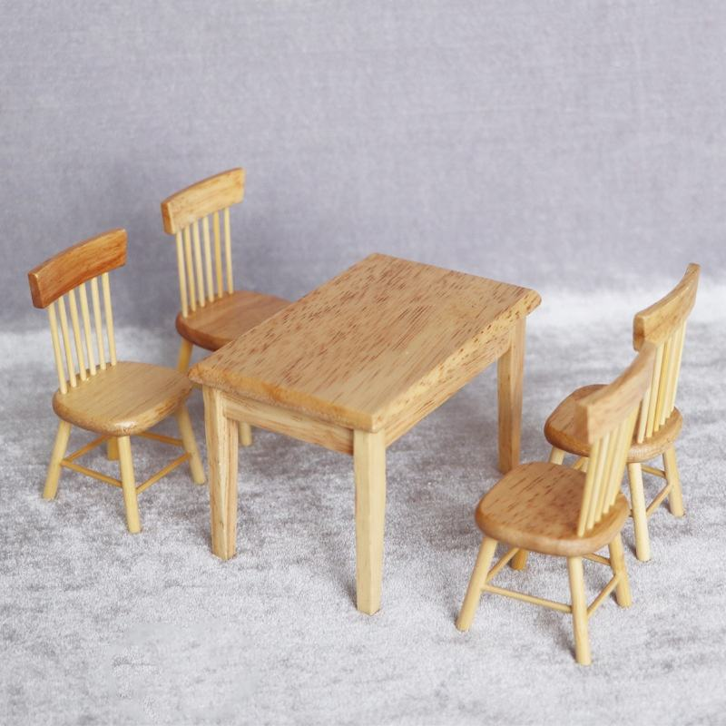 1:12 doll house dollhouse mini furniture model pocket toy wooden square dining table and chair set of 5