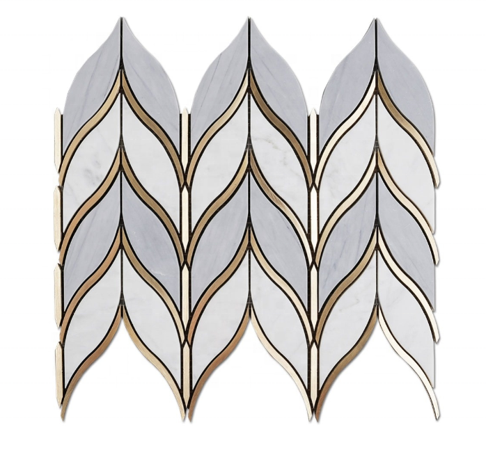 12x12 Stone Water Jet Marble Mosaic Tile Polished Chevron Marble Mosaics Kitchen Backsplash