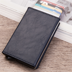 Crazy Horse PU Leather Wallet With Aluminum RFID Blocking Holders Zipper Coin Pocket For Bank Cards Business Cards