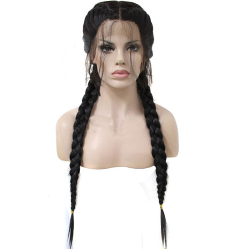 Ainizi wholesale on time delivery 26'' natural black color synthetic braiding hair lace front wig for black women