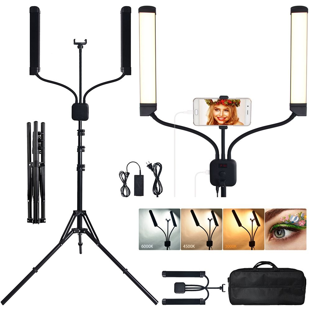 FOSOTO FT-450 New light Double Arms led light for photography studio 224 leds 40W make up ring light for living/make
