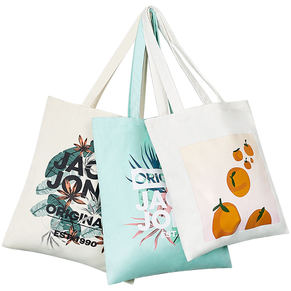 customized recycle organic cotton canvas tote shopping bag with print logo promotional supplier