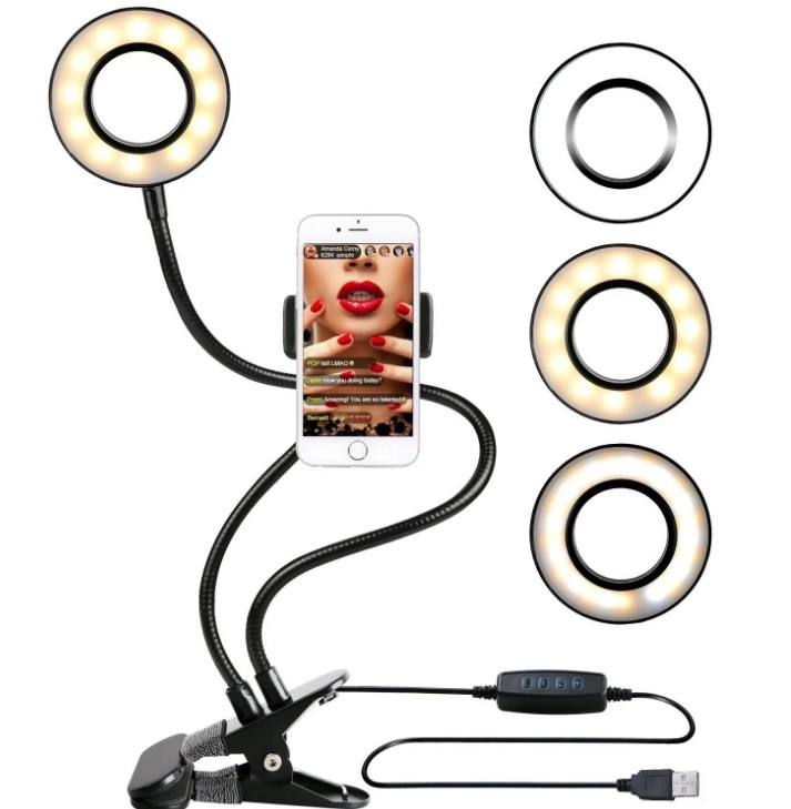 2020 Amazon Top Seller LED Selfie Light Ring Round Flexible Mobile Phone Holder Stand for Live Broadcast