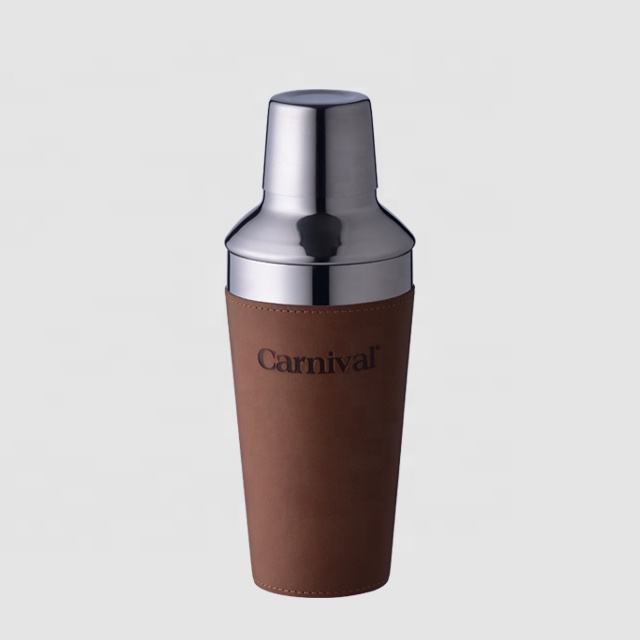 Factory Direct 600ml 750ml custom leather case cocktail shakers custom logo shaker bottle