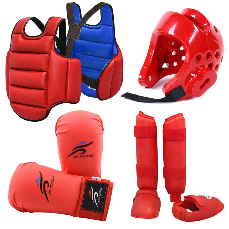 Karate Uniform Shin Guard martial arts Vest Boxing Gloves Equipment MMA Training Taekwondo Sparring Gear Set Chest Body Protect