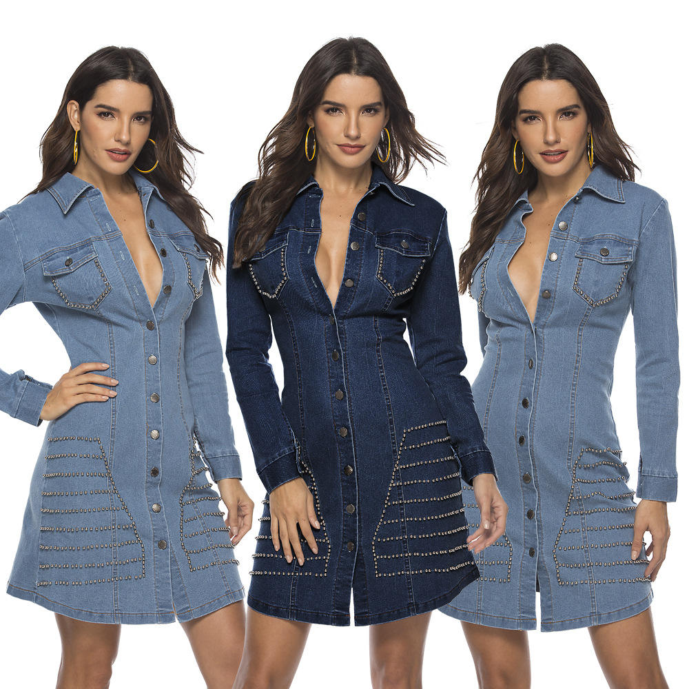 Women Sexy Denim Dress Rivet Detail Women Mini Dress Button Down Long Sleeve Dress