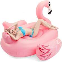 Luxurious Flamingo Pool Float Swimming Inflatables Toys Pink Water Animal Island Float for Adults & Kids