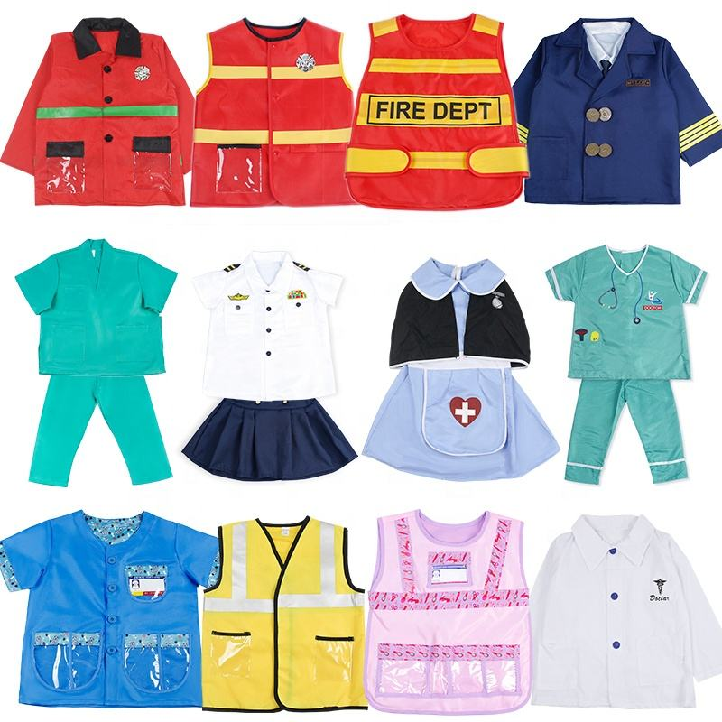 Halloween child firefighter show costume cosplay worker police doctor nurse pilot costume for kids