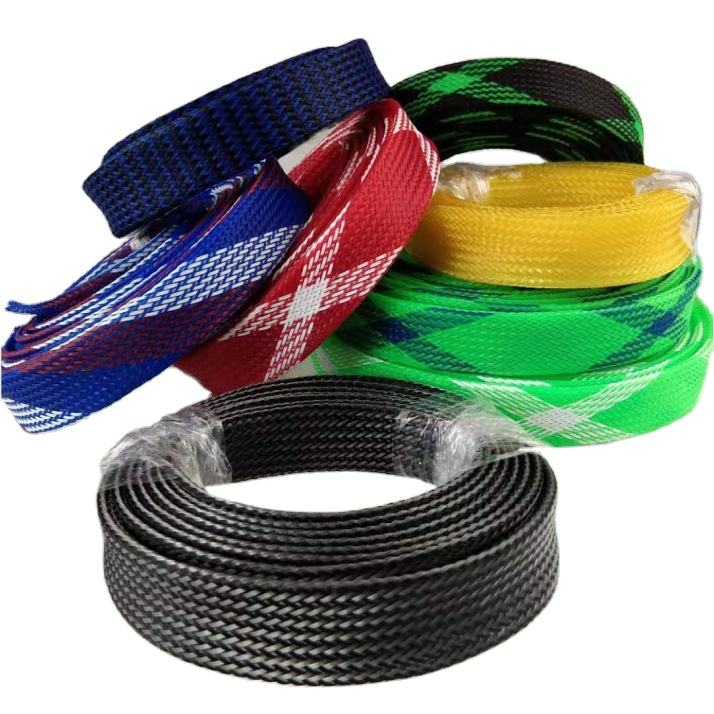 Colorful PET Braided Sleeve Automotive Cable Harness Tube