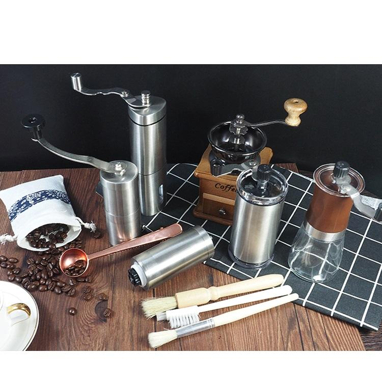 Low moq hand operated round hand grinder manual coffee grinder plastic, Amazon hot selling stainless steel coffee grinder bean