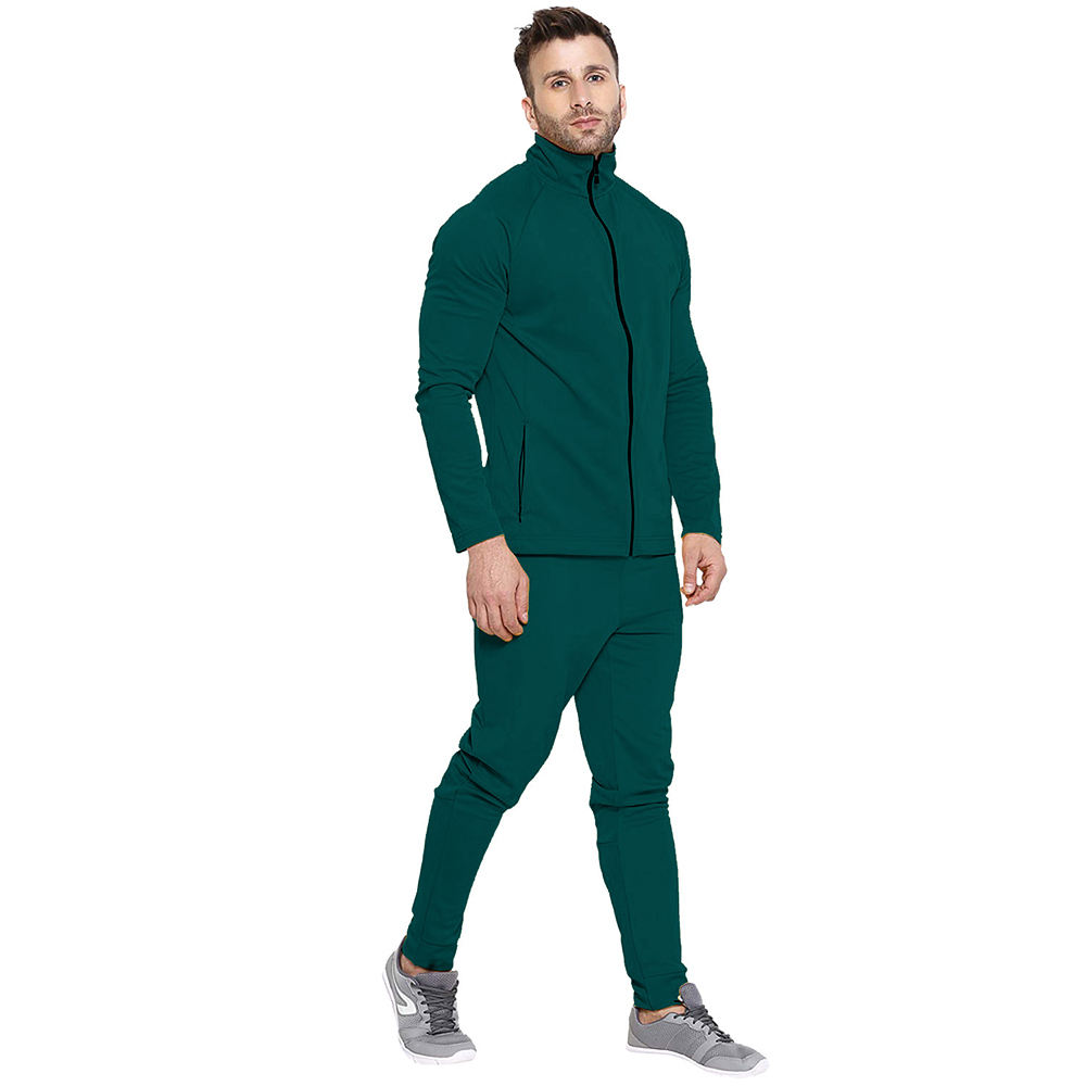 Solid Green Men Sweat suits Jogging Sports Wears Made Of Cotton Fleece Track suits For Men