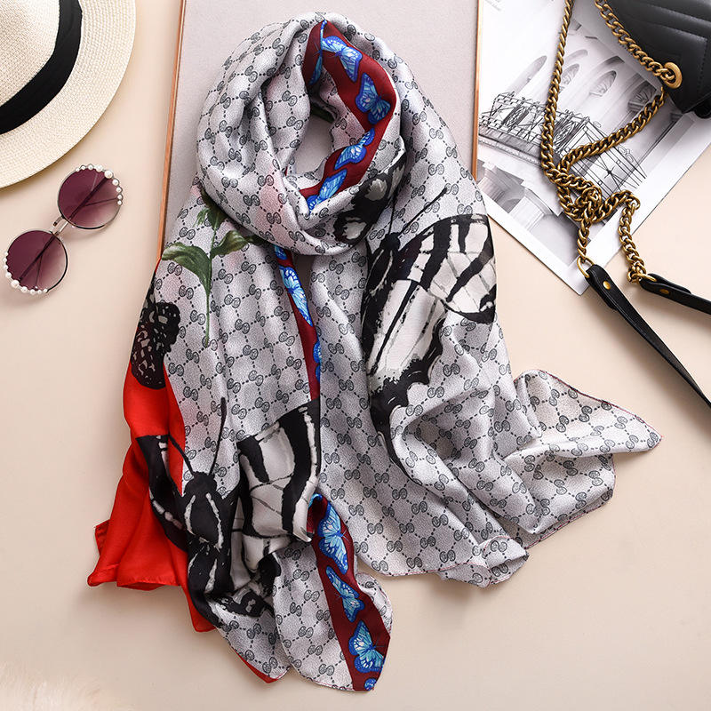 Wholesale 2020 latest bulk silk scarves fashion butterfly print women smooth and soft designer scarf styles