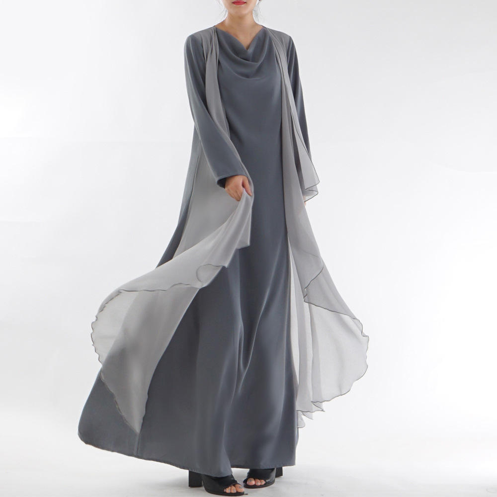 Cross-border exclusively for Muslim women's abaya spot full length not real two-piece factory direct sales