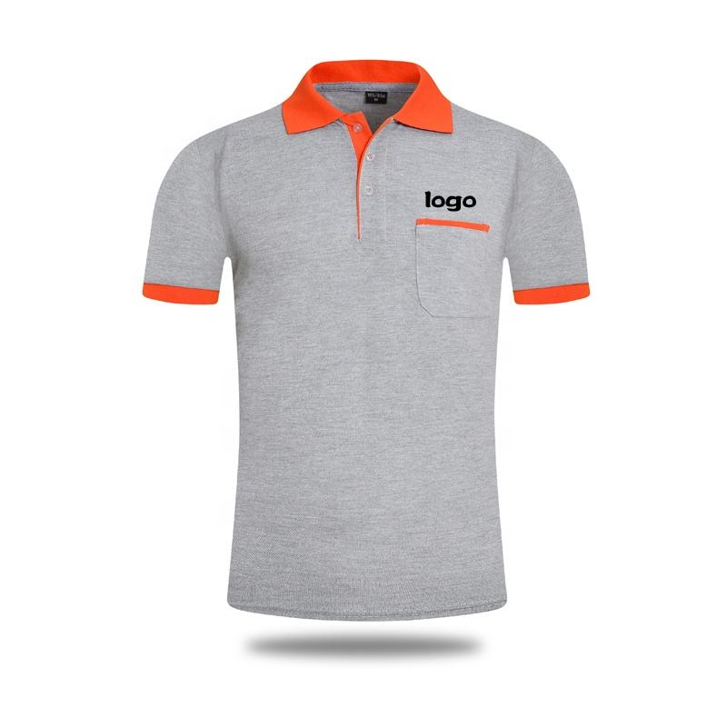 Hot sale two-tone polo shirts,short sleeve embroidered custom t-shirt with button collar t shirt