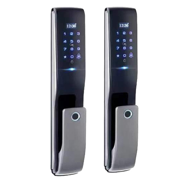 Stainless steel Entry double wood door lock smart lock fingerprint wifi unlock function