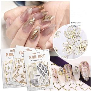 new arrival 20 design gold stickers nail art 3D lace nail art stickers