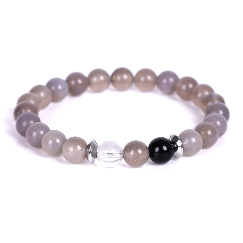 Trade Insurance Rock Crystal & Black Onyx & Gray Agate 24 Hours Time Bracelet