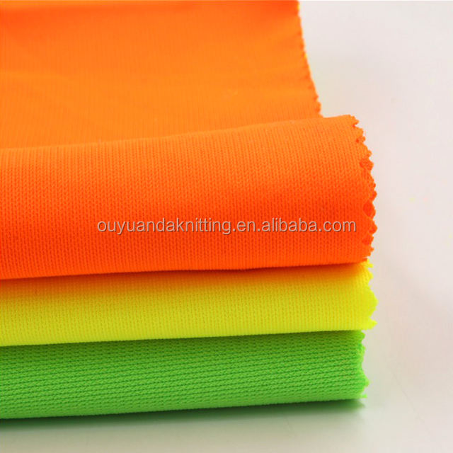 100% Polyester Fluorescent Yellow/Orange Knit Fabric