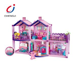 2021 Latest Toys For Kids Dream Doll House with Horse, DIY Indoor Children Funny Miniature Doll House Furniture