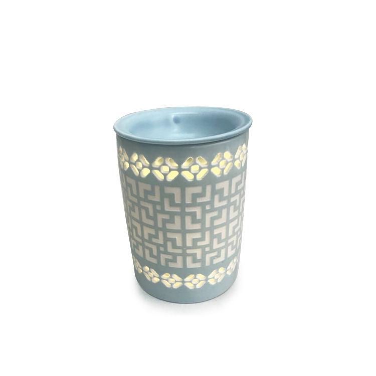 China diseño de estilo vela derretir titular personalizado de luz de cerámica azul cera aroma <span class=keywords><strong>quemador</strong></span> caliente
