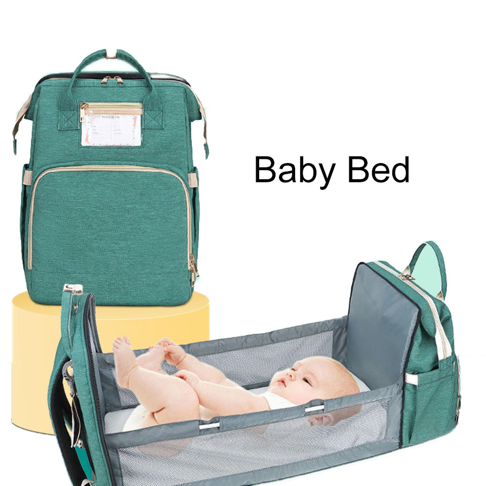 Fashion Multifunctional Custom Waterproof Travel Mom Back Pack Foldable Baby Cribs Nappy Changing Bag Mummy Diaper Backpack Baby