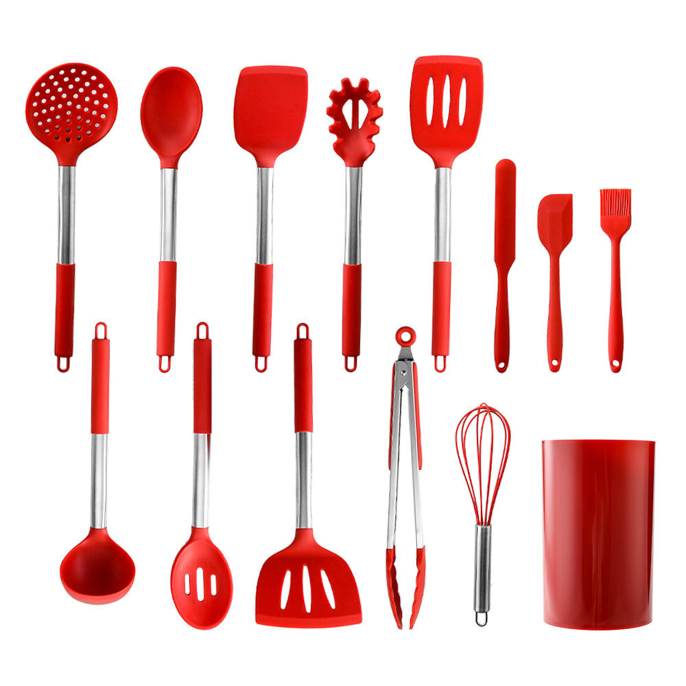 Amazon Hot Sale 14 Pcs Stainless Steel Spoon Shovel Kitchen Utensils Household Baking Scrapers Silicone Cooking Utensils